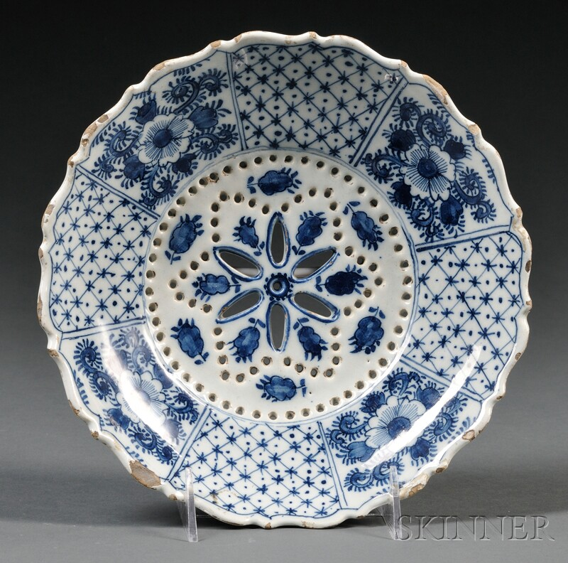Dutch Delft Blue and White Strainer Dish