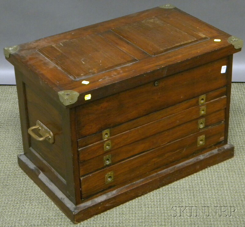 Metal-mounted Rosewood Veneer Lift-top and Four-drawer Tradesman's Chest