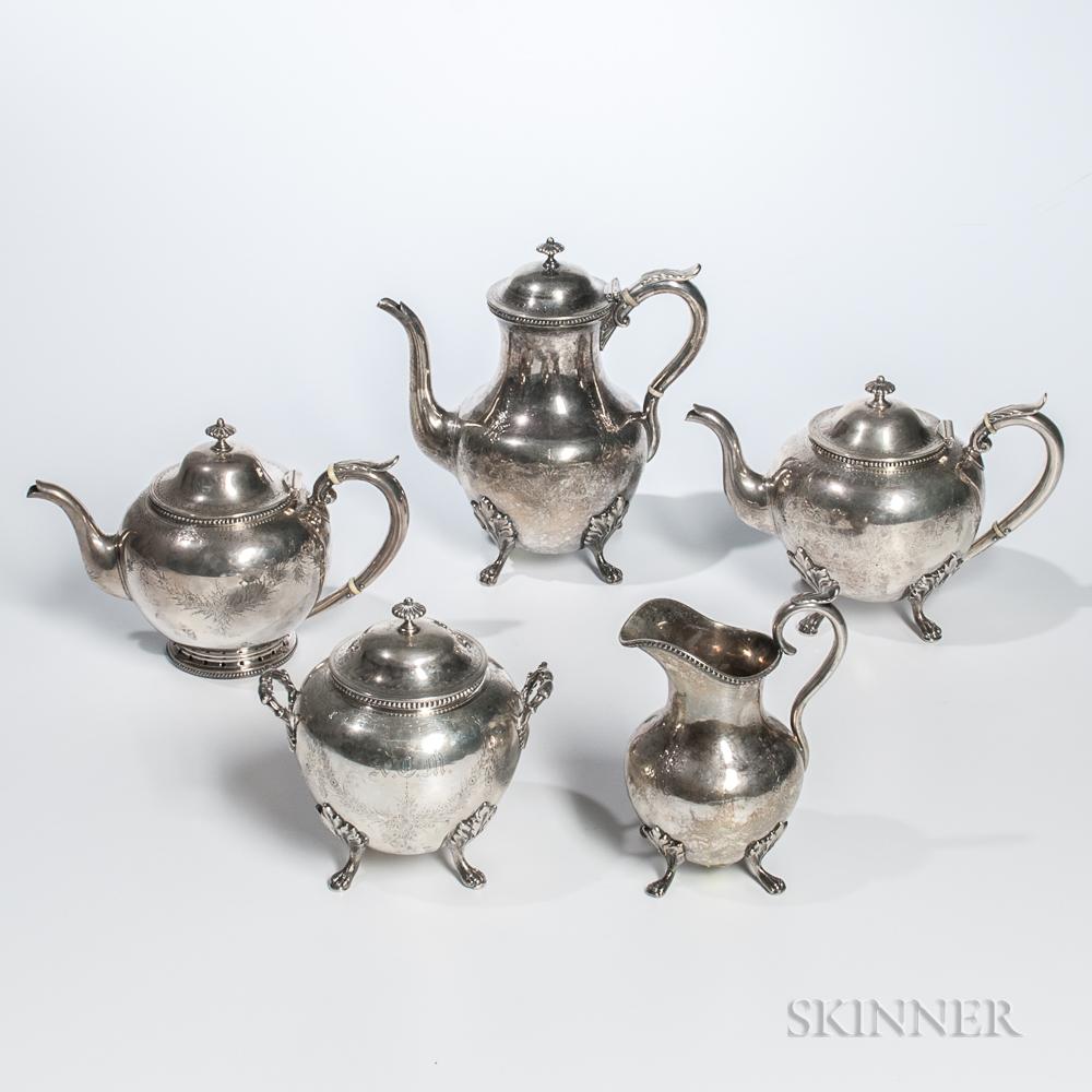 Five-piece Coin Silver Tea/Coffee Service