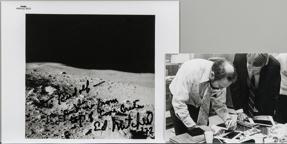 Apollo 14, Photograph of the Cone Crater, February 1971, Signed by Ed Mitchell in 1972.