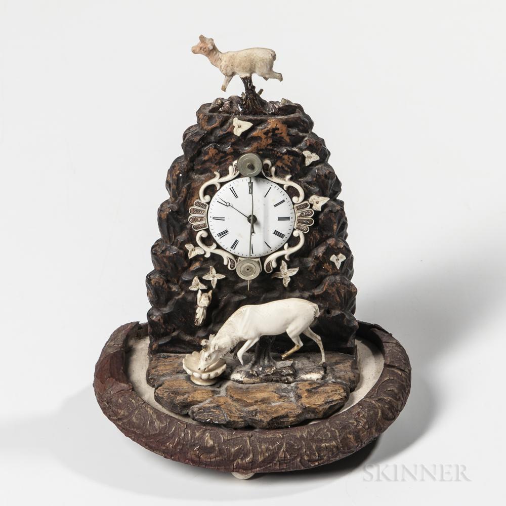 Miniature Carved Wood and Bone Zappler Clock