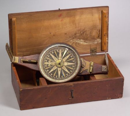 Early Mahogany and Brass Surveyor's Vernier Compass by Benjamin Hanks
