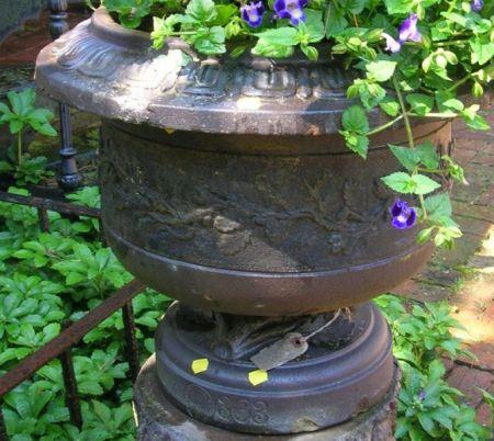 Portland Stone Ware Co. Brown Glazed Oak Leaf and Acorn Decorated Garden Urn