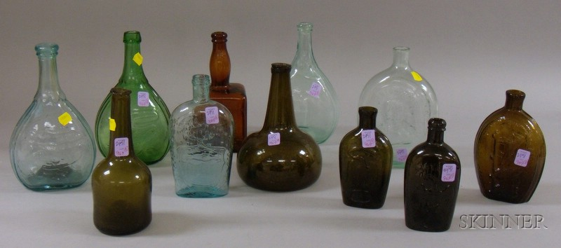 Eleven Early Glass Bottles and Flasks