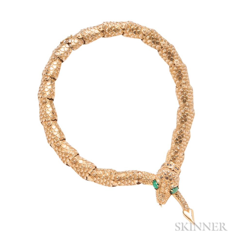 14kt Gold Gem-set Snake Necklace, Eric de Kolb
