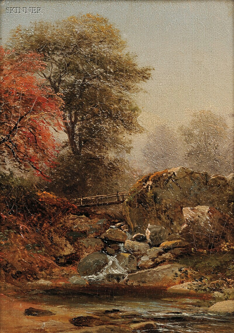 American School, 19th Century      The Footbridge in Autumn/A Hudson River School Landscape