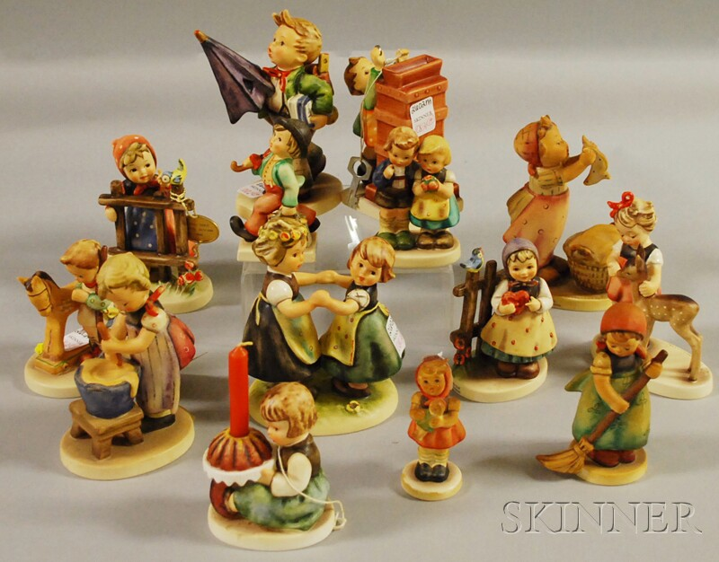 Fourteen Goebel/Hummel Ceramic Figures
