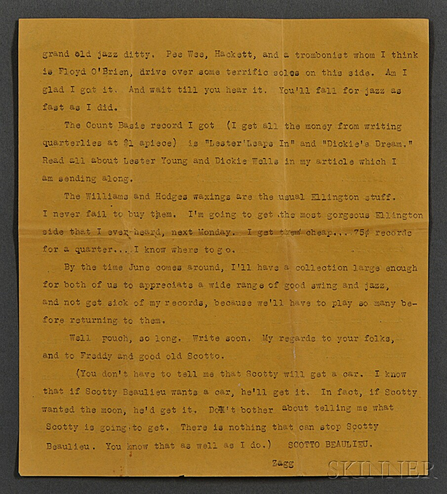 Kerouac, Jack (1922-1969) Typed Letter, with Manuscript Additions, 1-5 June 1940.