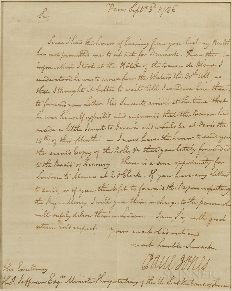 Jones, John Paul (1747-1792) Secretarial Letter Signed, Paris, 3 September, 1786.