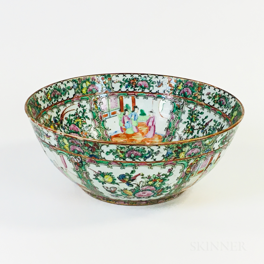 Rose Medallion Porcelain Punch Bowl