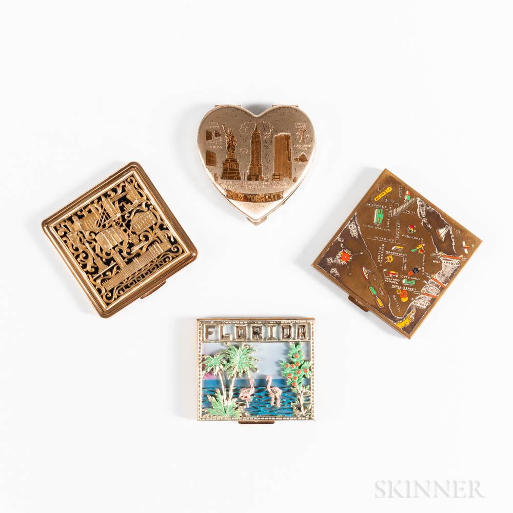 Four Vintage Souvenir Compacts