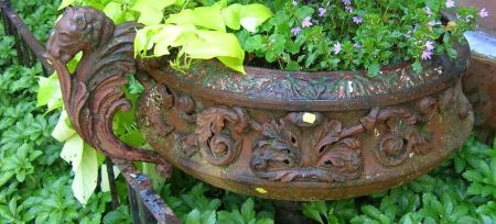 Victorian Painted Cast Iron Garden Urn