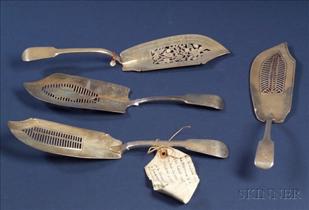 Six English Silver Flatware Serving Pieces
