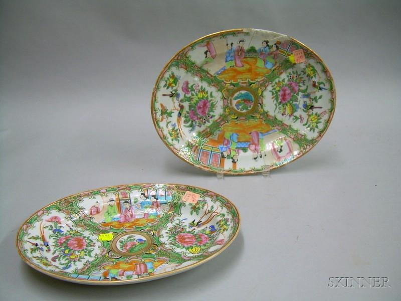 Two Oval Rose Medallion Porcelain Platters
