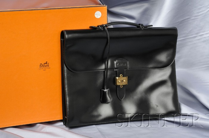 Black Leather Briefcase, Hermes, Paris