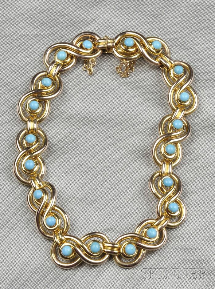 Antique 9kt Gold and Blue Glass Bracelet
