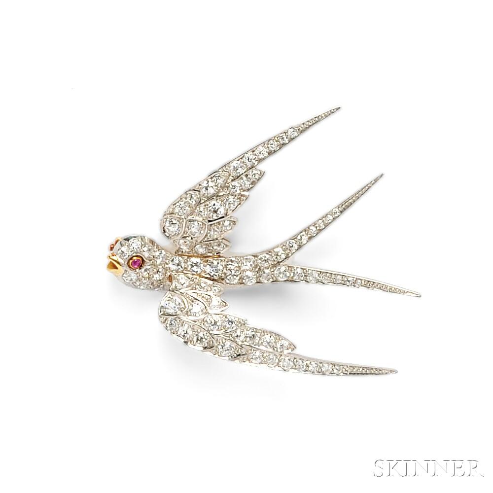 Edwardian Diamond Swallow Brooch, Bailey, Banks & Biddle