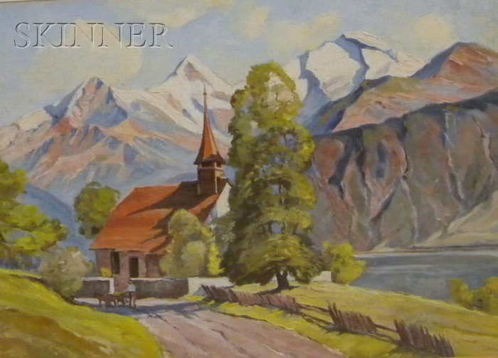 Lot of Three Landscapes:      Northern European School, 20th Century, Figure on a Path by an Alpine Lake