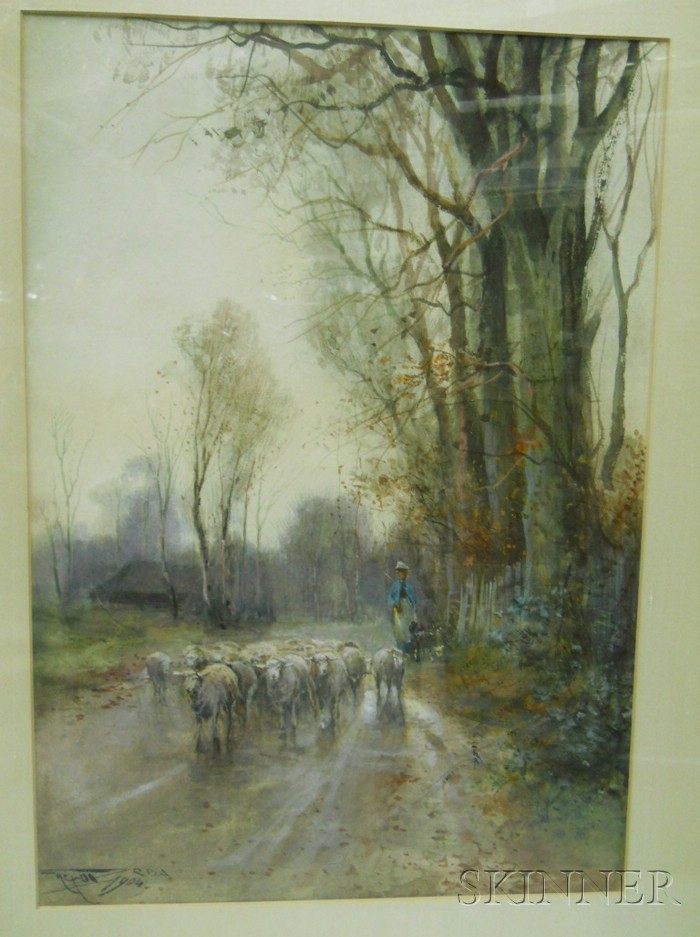 British School, 19th/20th Century      Shepherdess with her Flock on a Country Road