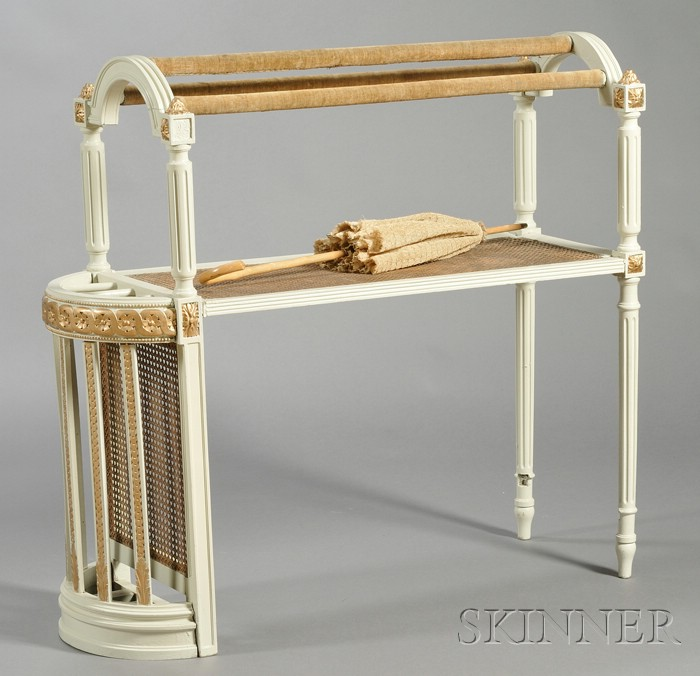Unusual White-painted And Parcel-gilt Caned Umbrella Stand