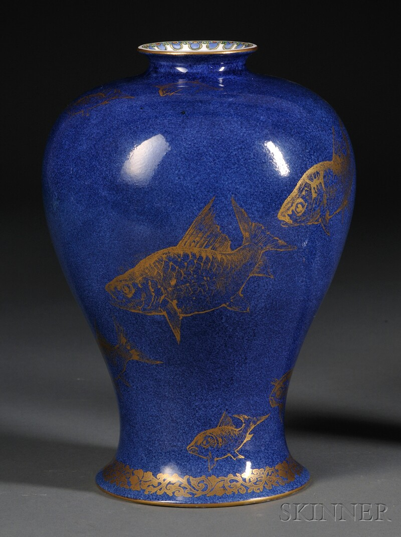 Wedgwood Powder Blue Bone China Fish Vase