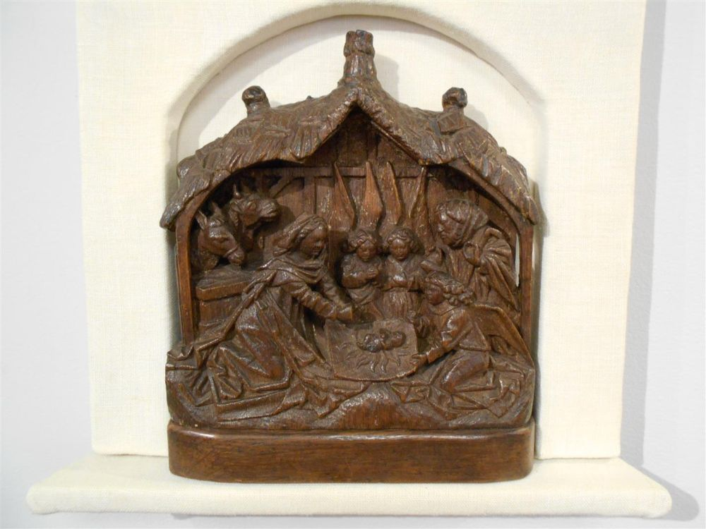 Wood Relief of Adoration in the Stable
