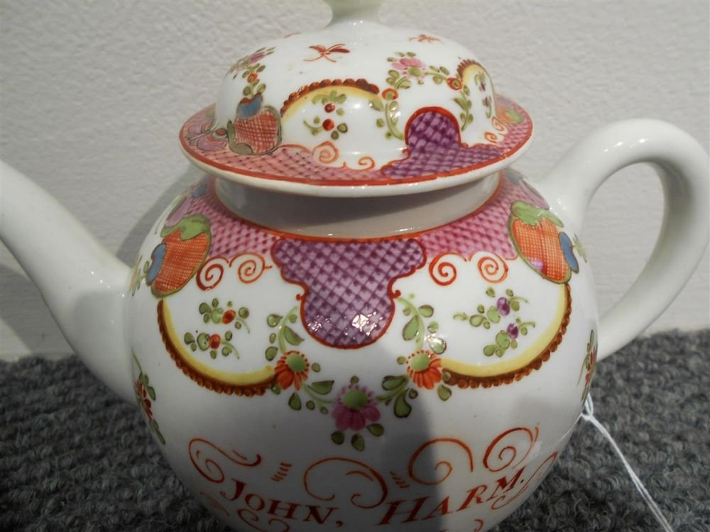 Lowestoft Porcelain Teapot and Cover