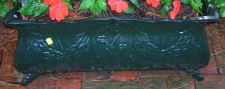 Pair of Green Painted Cast Iron Footed Garden Planters