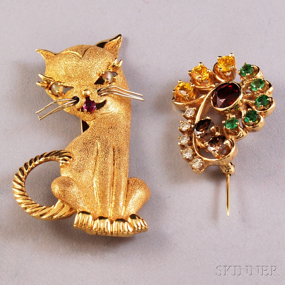 Two 14kt Gold Gem-set Brooches