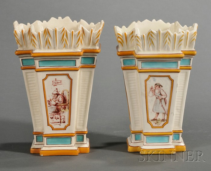 Pair of Wedgwood Lessore Decorated Queen's Ware Quiver Vases