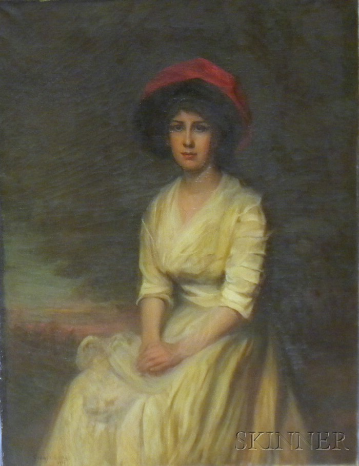 Gerard Barry (American, 1864-1941)      Young Woman in a Red Hat