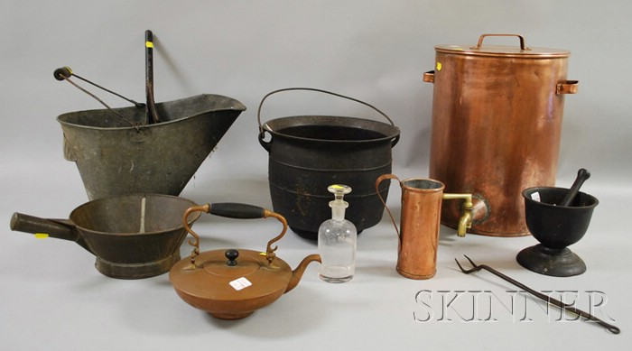 Lot of Mostly Copper, Cast Iron, and Tin Kitchen and Hearth Items.