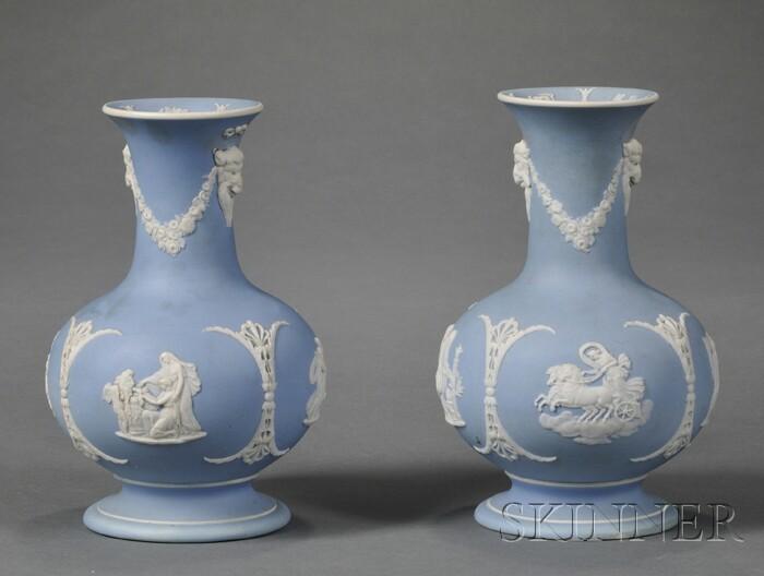 Pair of Wedgwood Light Blue Jasper Dip Vases