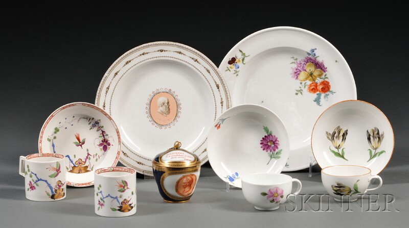 Eleven Pieces of Marcolini Period Meissen and Meissen-type Porcelain