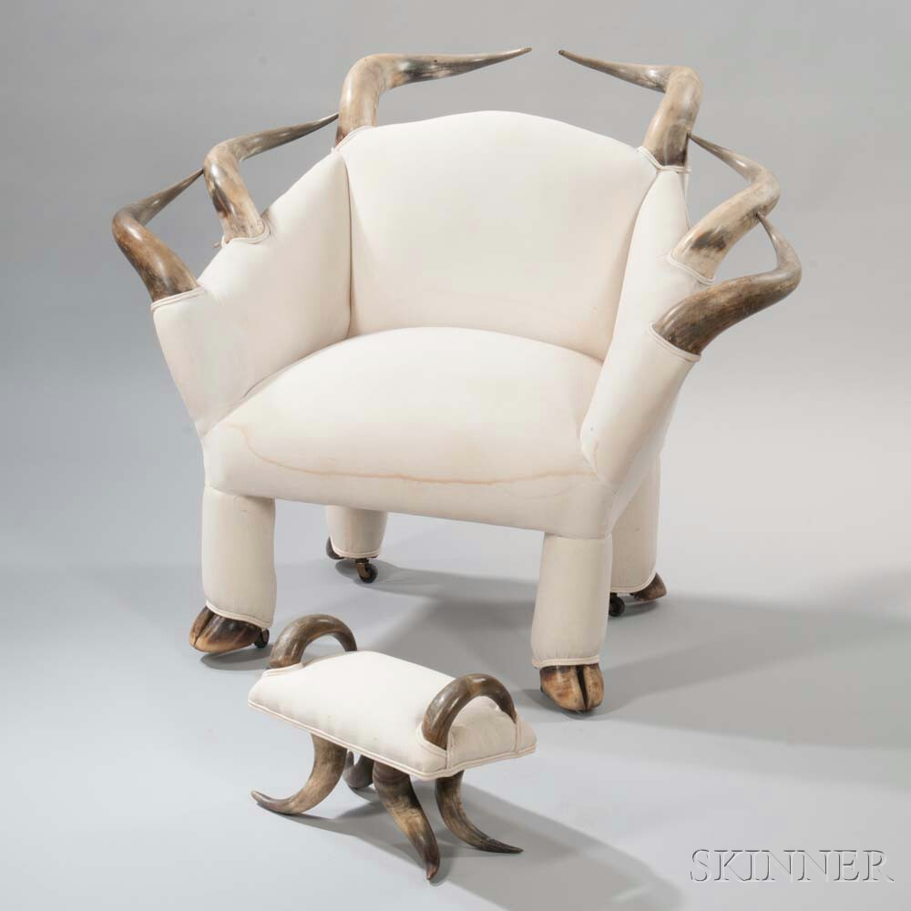 Steer Horn Lounge Chair with Footstool