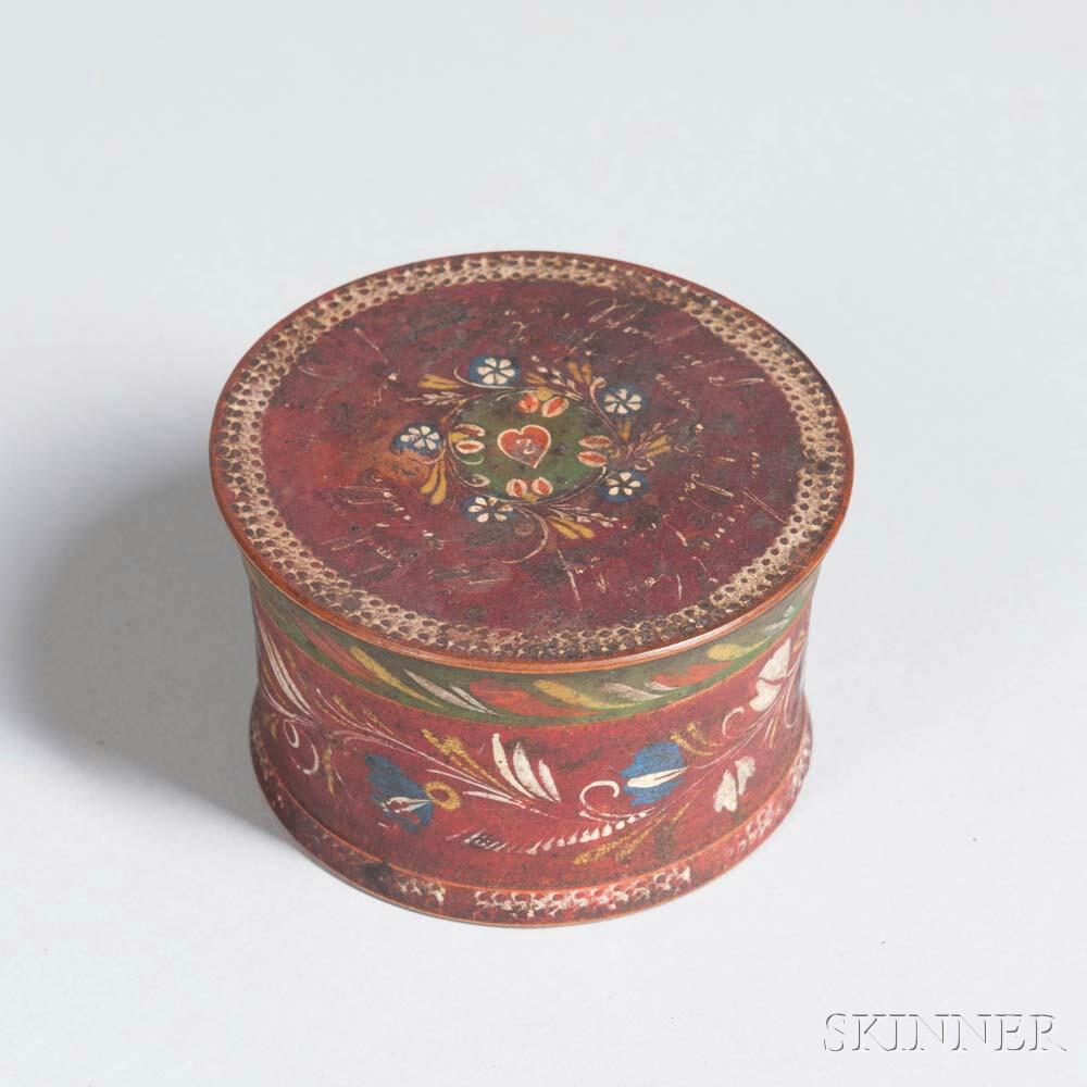 Turned and Polychrome Decorated Godosen Baptismal Gift Box