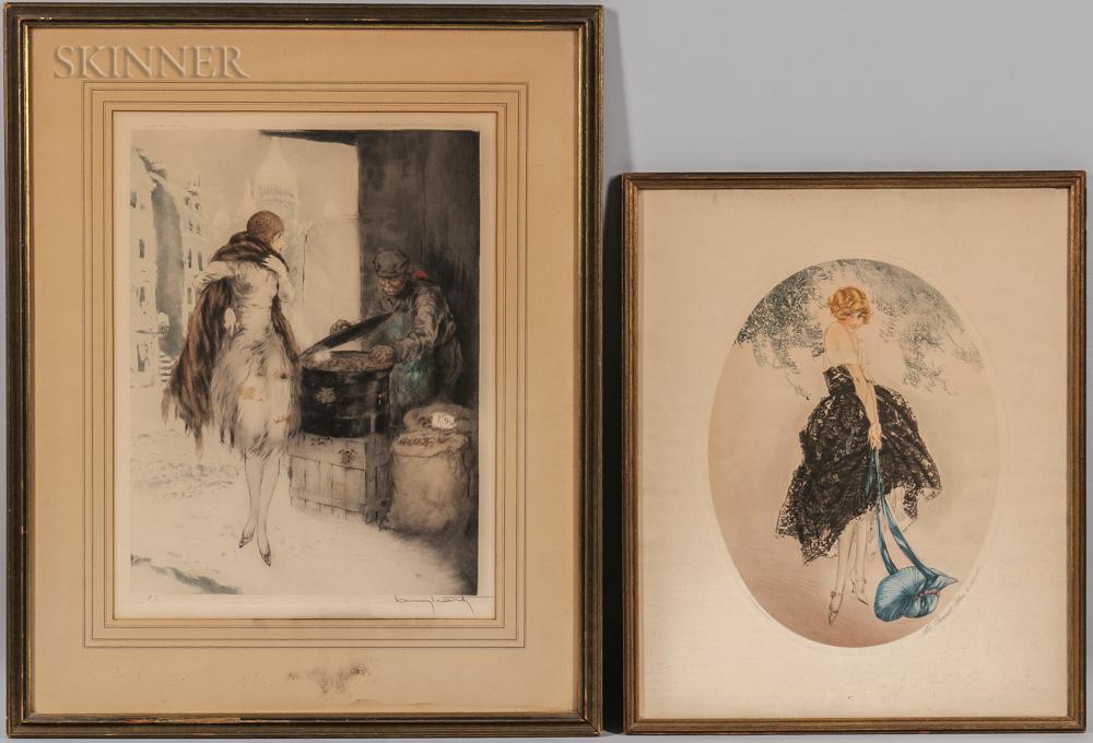 Louis Icart (French, 1888-1950)      Three Framed Etchings: Fleurs de Paris (1930), Marchande de Marrons (1928)