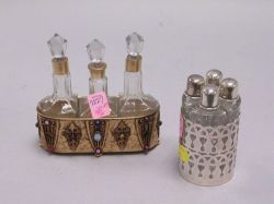 Set of Sterling Silver Cased Scent Bottles and a French Gilt Cased Set of Scent Bottles.