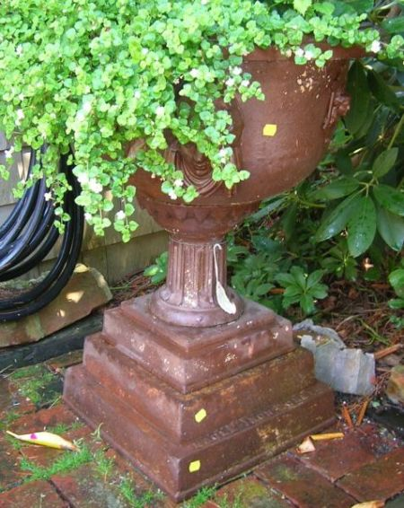 Eagle Iron Works Victorian Etruscan Revival Cast Iron Garden Urn with Pedestal Base