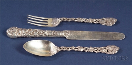 Victorian Silver Three Piece Youth's Place Setting