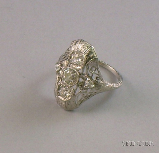 Art Deco-style Platinum and Diamond Ring