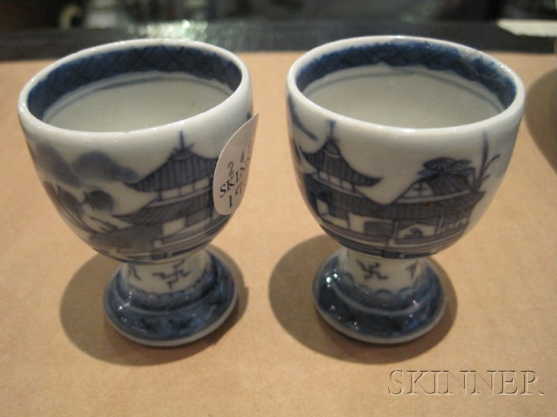 Two Canton Porcelain Egg Cups