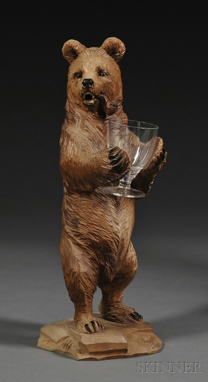 Black Forest Carved and Painted Figure of a Bear