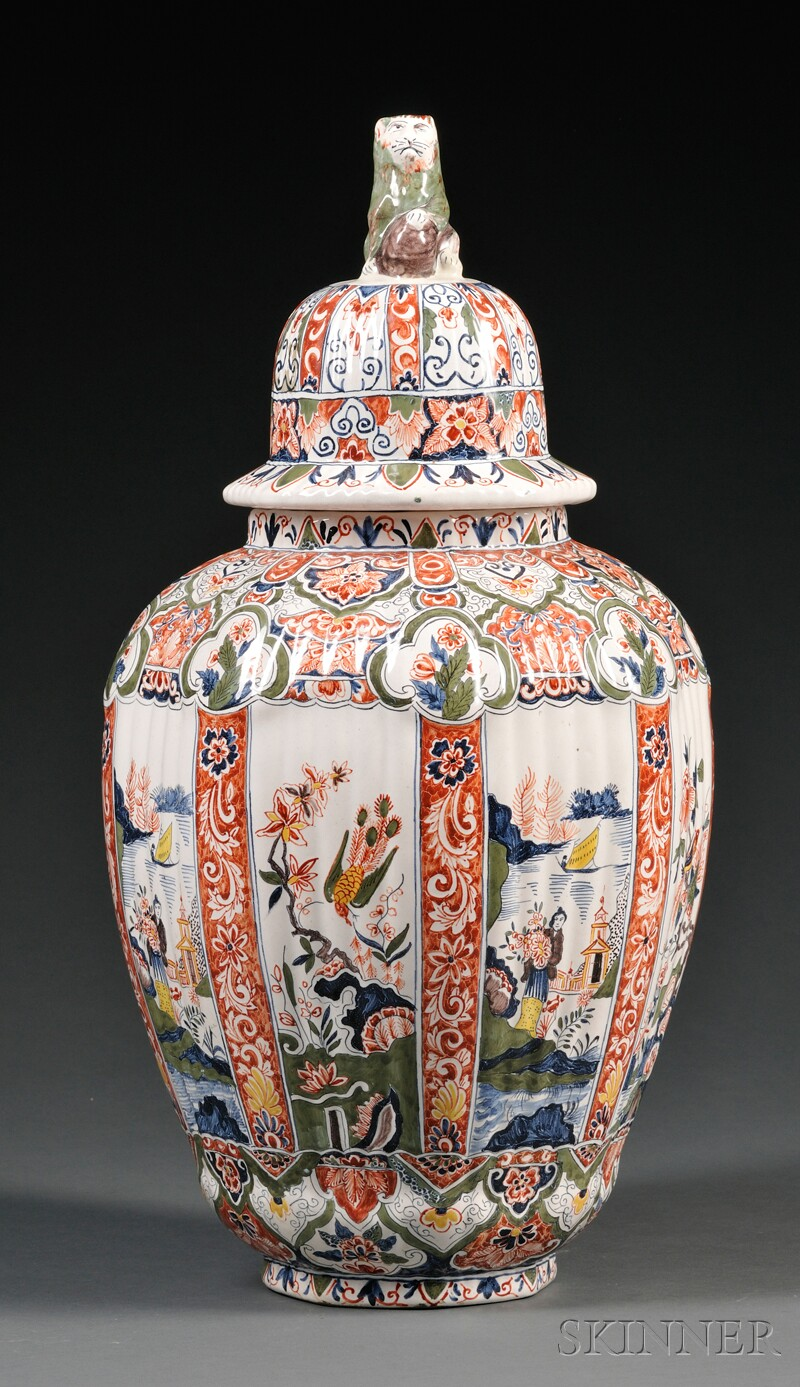 Dutch Delft Polychrome Decorated Vase and Cover