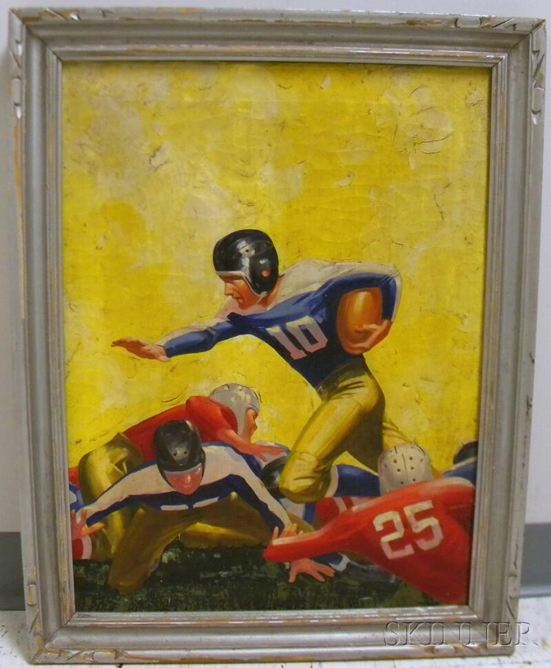 20th Century American School Oil on Canvas Football Illustration