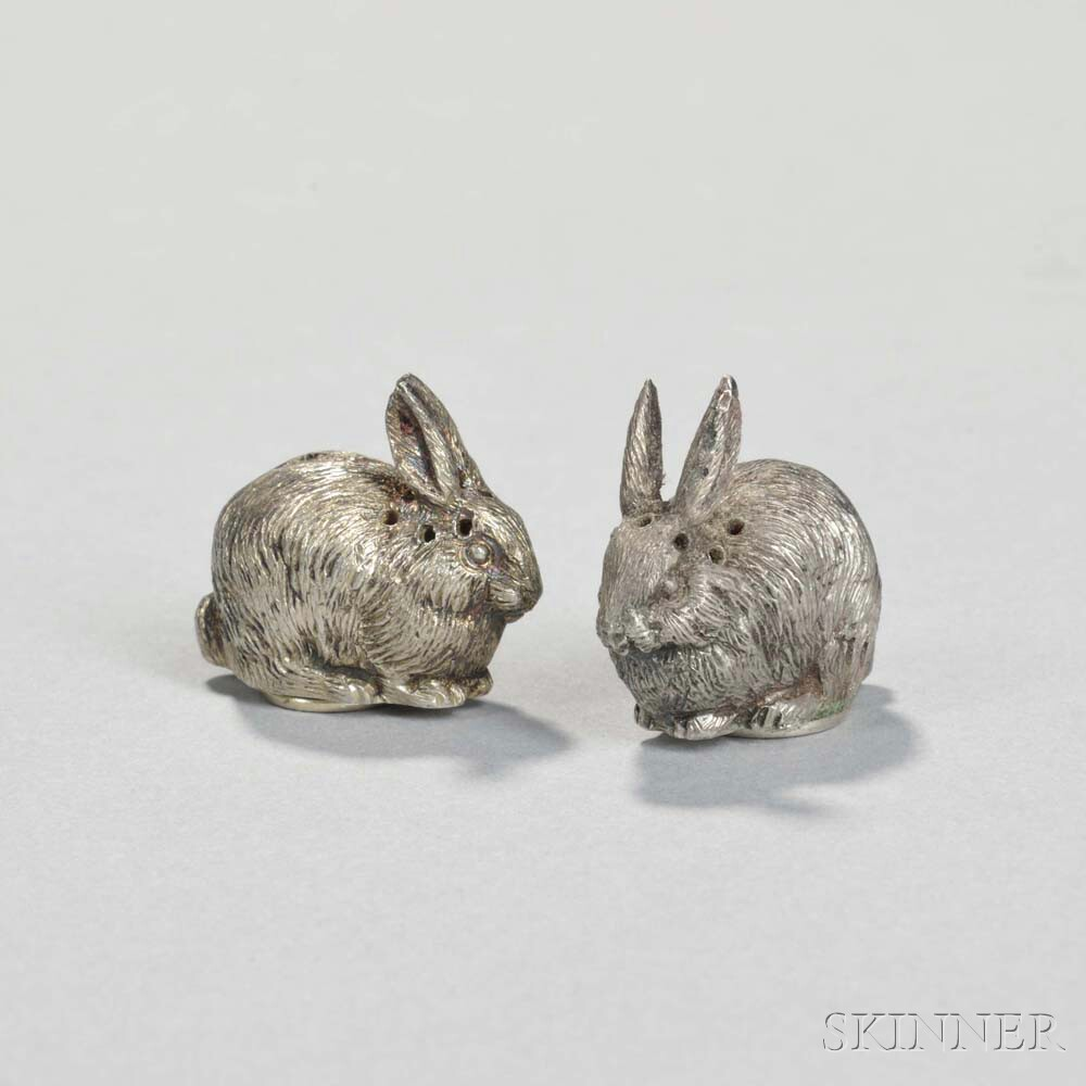 Pair of Edward VII Sterling Silver Rabbit-form Pepperettes