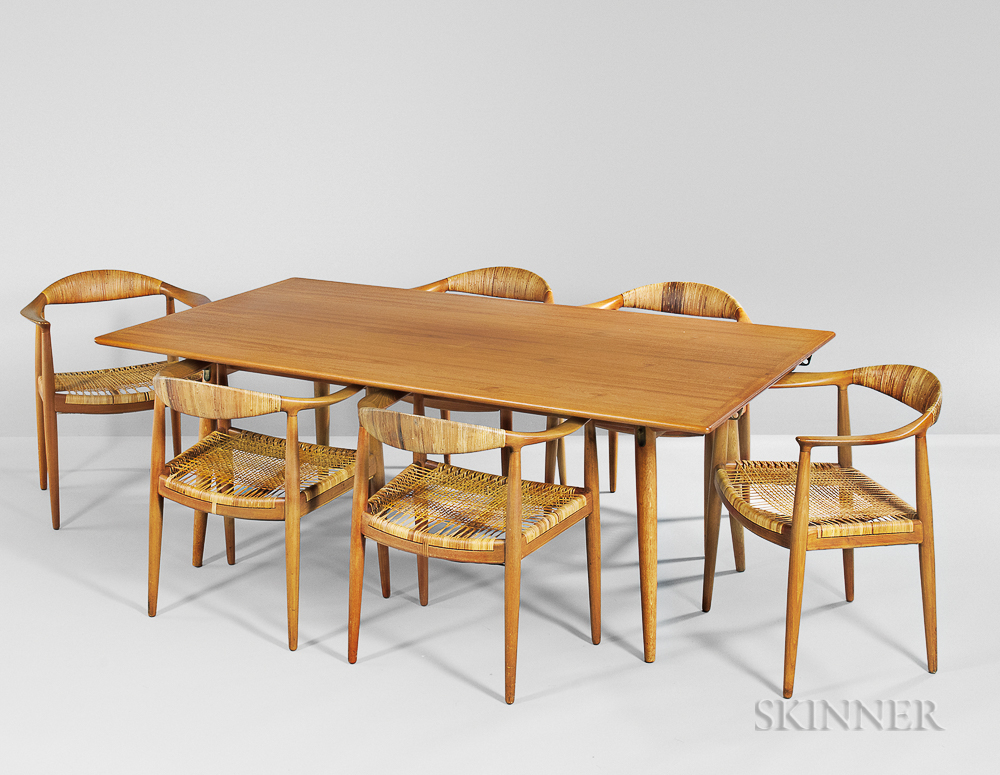 Hans Wegner Dining Table And Six Dining Chairs Sale Number 3057m Lot Number 209 Skinner Auctioneers