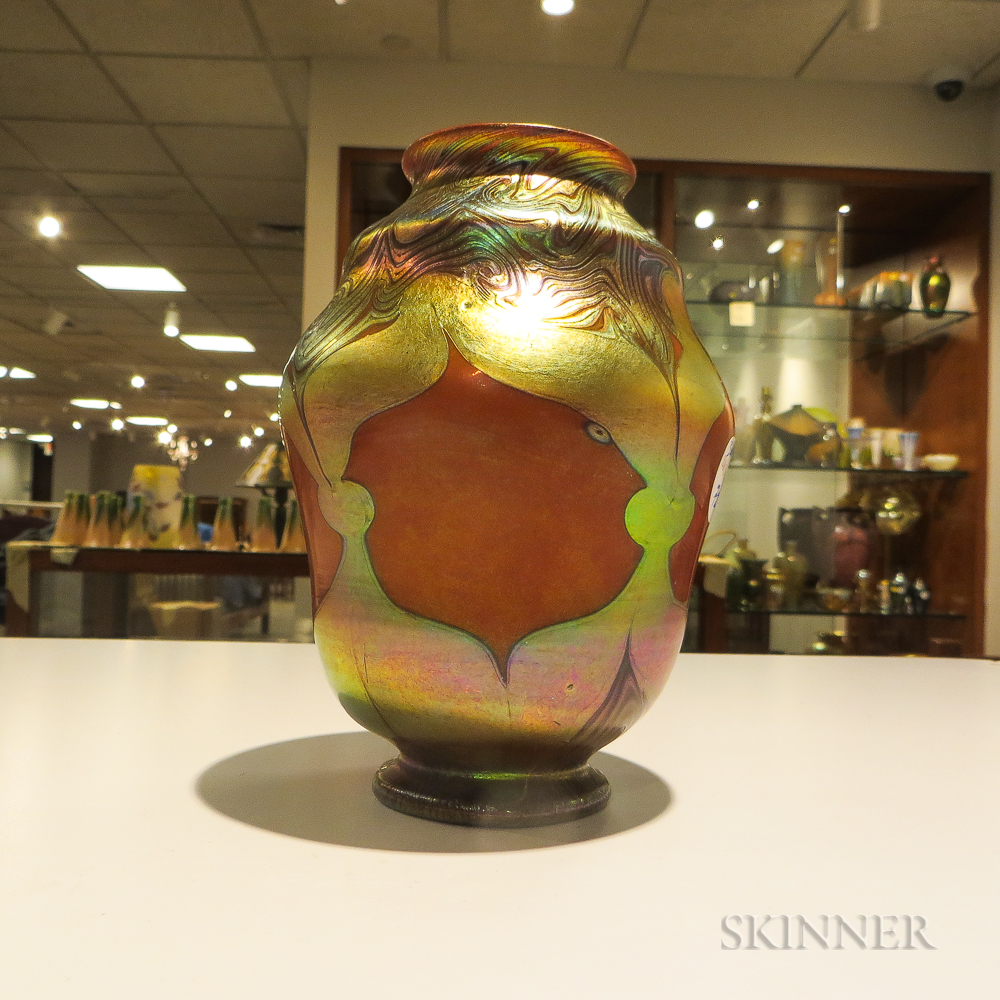 Louis C. Tiffany Red Favrile Exhibition Vase
