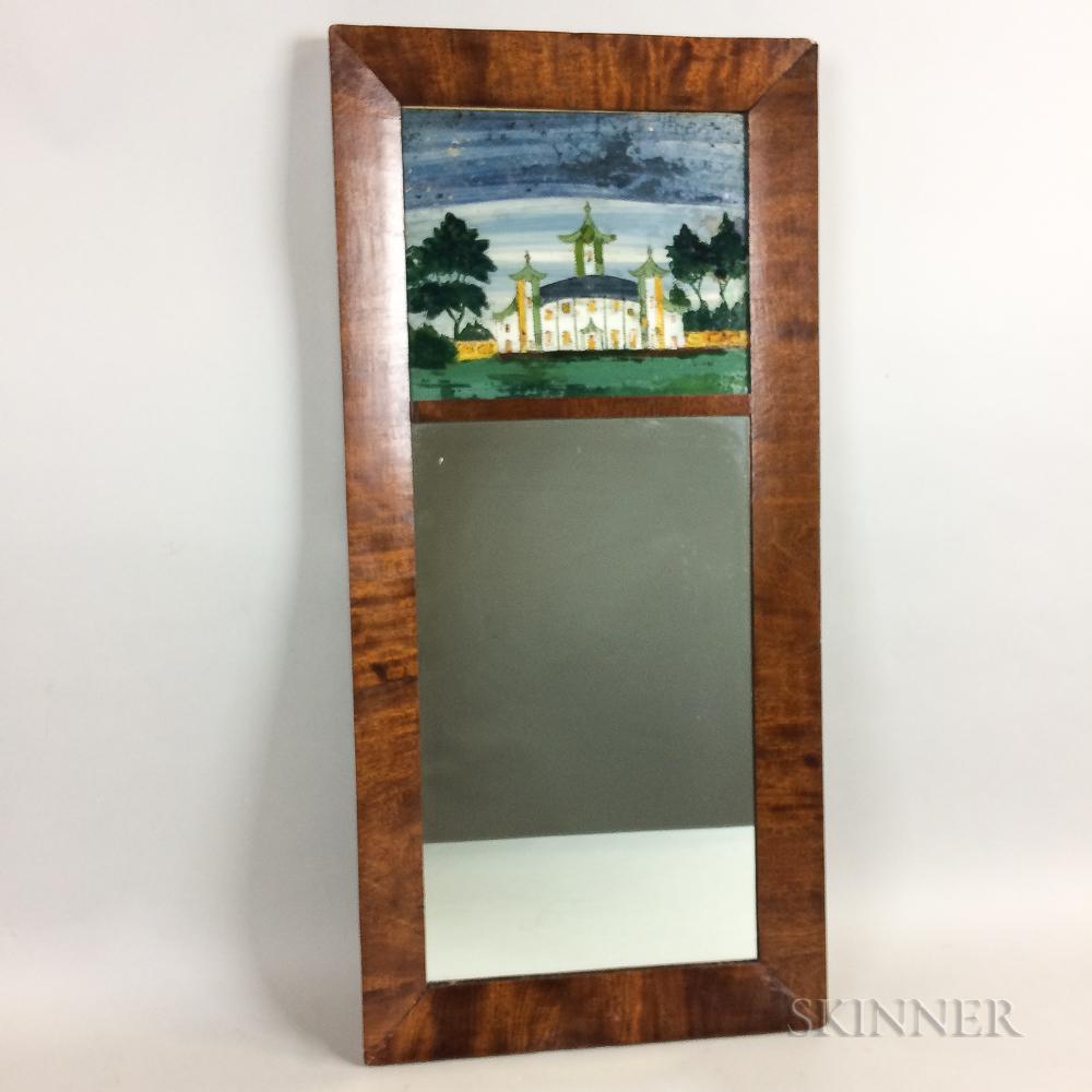 Country Reverse-painted Mahogany Mirror