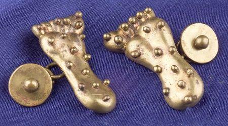 Brass Foot Cuff Links, Hubert Harmon